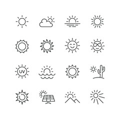 Sun related icons: thin vector icon set, black and white kit