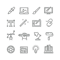 Design related icons: thin vector icon set, black and white kit
