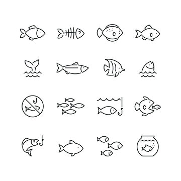 Fish related icons: thin vector icon set, black and white kit