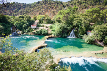 Krka, Sibenik, Croatia - Viewpoint upon the cascades of Krka National Park