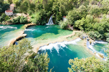 Krka, Sibenik, Croatia - Aerial shot of the cascade waterfalls of Krka