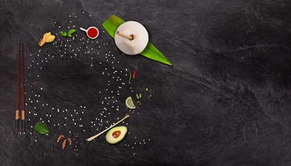 Empty bowl , asian food concept