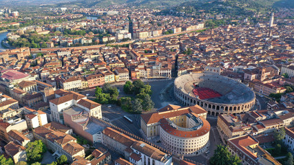 Aerial drone photo from iconic Arena and City Hall in Bra square of beautiful city of Verona, Veneto, Italy