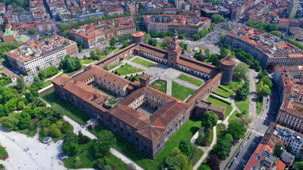 Poster Milan Aerial drone photo of iconic medieval Castle of Sforza or Castello Sforzesco and beautiful Sempione park in the heart of Milan, Lombardy, Italy