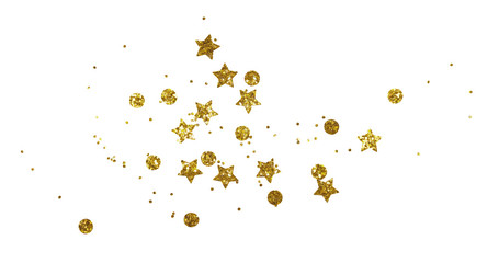 Scattered golden seqines and stars