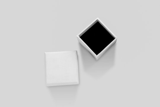 Open empty white small Chest or Casket on soft gray background.Blank Empty White Jewelry Box For Mock-up.3D rendering