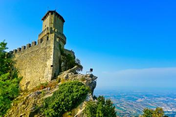 View of the Guaita fortress located on the peak of Monte Titano in San Marino.