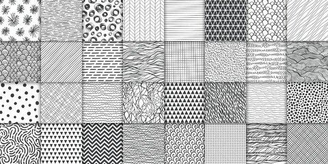 Tuinposter Kunstmatig Abstract hand drawn geometric simple minimalistic seamless patterns set. Polka dot, stripes, waves, random symbols textures. Vector illustration