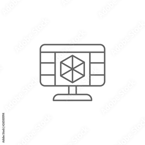 3d programming icon  Element of 3d printing icon  Thin line icon for