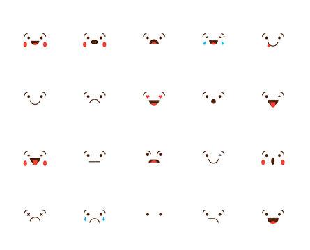 Set of Emoticons Stickers, Emoji. Vector Illustration.