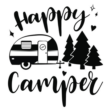 Happy Camper vector download.  Mobile recreation. Happy Camper trailer in sketch silhouette style.