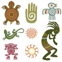 Set of Native Americans ethnic symbols. Aztec symbols.