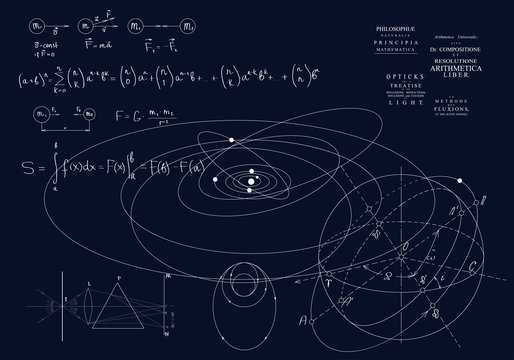 Formulas of classical mechanics, Newton's laws. Physics of motion of bodies, the laws of gravity and optics.