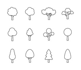 Wall Mural - Big collection Tree. Tree line icon. Wood. Plant. Vector illustration.
