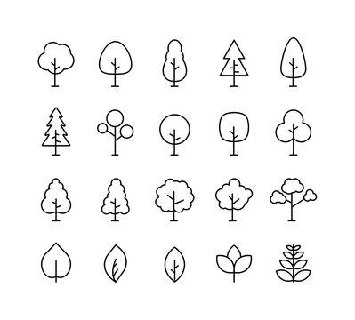 Big collection Tree. Tree line icon. Wood. Plant. Vector illustration.