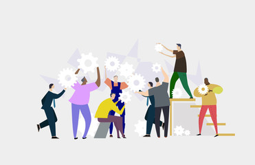 Team working together. Lots of people holding and rotating gears. Busy business life. Flat design human's characters in colourful clothes.