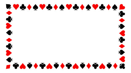 Frame of card suits. playing card suits isolated on white background.