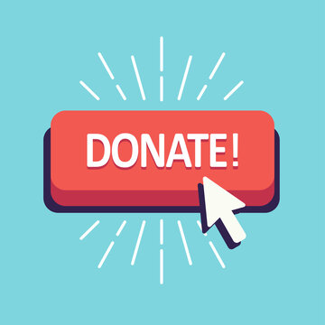 donate button red for donation click arrow for views and money