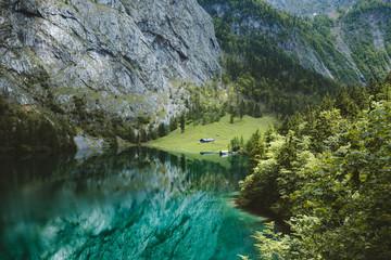 Scenic Lake Obersee in summer, Bavaria, Germany