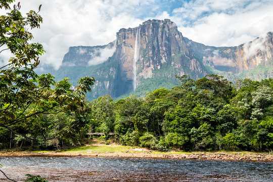 View of Angel falls from Carrao river, Canaima National Park, Venezuela