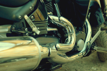 Black motorcycle close-up