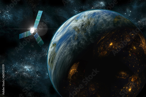 Wall mural Satellite over Planet No.1