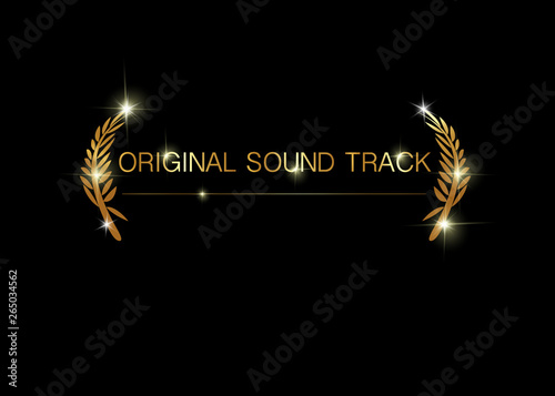original sound track concept  Gold vector isolated on black