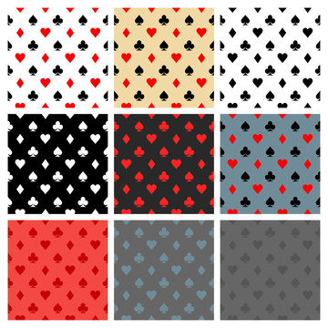 set card icon pattern wallpaper vector background. Card suits seamless pattern. Vector illustration