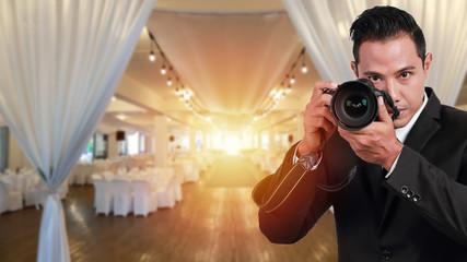 professional wedding photographer (photography concept)