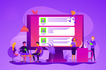 Global internet communication, social media and network technology, chat message and forum concept. Vector isolated concept illustration with tiny people and floral elements. Hero image for website.