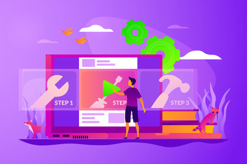 Education video, modern teaching tool, interactive learning and video tutorial concept. Vector isolated concept illustration with tiny people and floral elements. Hero image for website.