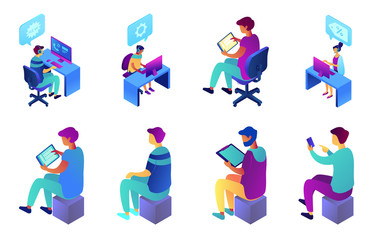 Businessman sitting and working, call center operator, tiny people isometric 3D illustration set. Customer service and technical support engineer, consultant concept. Isolated on white background.