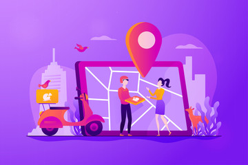 Delivery man delivered pizza to customer by scooter, map on tablet, tiny people. Food delivery service, online food ordering, 24 7 food service concept. Vector isolated concept creative illustration.