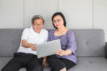Old Senior Asian couple sitting looking and interacting with a laptop.