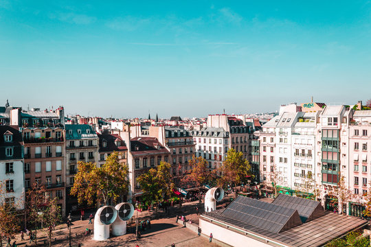 Colorful Parisian Buildings in Paris, France