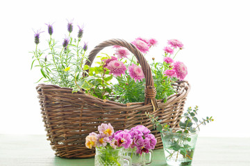 花とバスケット