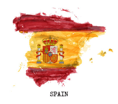 Spain flag watercolor painting design . Country map shape . Sports team and National day concept ( 12 October 1492 ) . Vector .