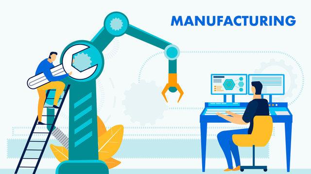 Hi-tech Manufacturing Process Flat Banner Template