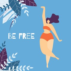 Be Free Woman Motivational Lettering Flat Banner