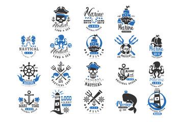 Nautical logo original design set, retro badges for nautical school, sport club, business identity, print products vector Illustration on a white background