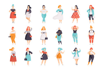 Beautiful plus size women in fashionable clothes set, curvy, overweigh girl pinup model vector Illustrations on a white background