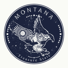 Montana. Tattoo and t-shirt design. Welcome to Montana (USA).  Treasure State slogan. Travel concept