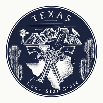 Texas. Tattoo and t-shirt design. Welcome to Texas (USA). Lone Star State slogan. Travel concept
