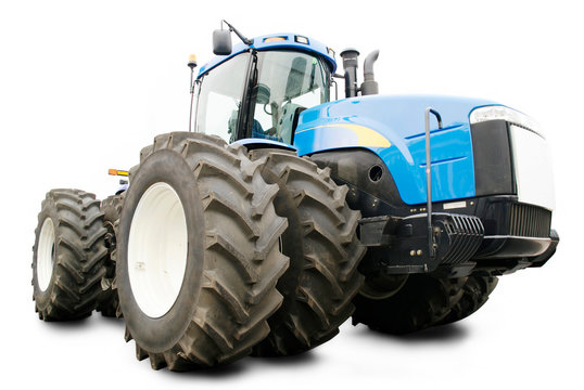 Large agricultural tractor with big wheels isolated on white background
