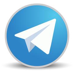 White paper plane on blue background. Vector illustration. Telegram icon