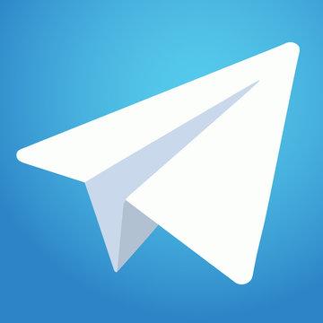 Telegram messenger icon. White paper plane on blue background. Vector illustration. EPS 10