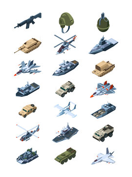 Military isometric. Security guards in uniform soldiers with tanks all-terrain vehicle machine guns grenades shields vector collection. Illustration of military war machine, isometric transport