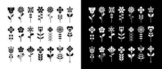 Fotobehang Abstractie Art Black and white floral vector icon set