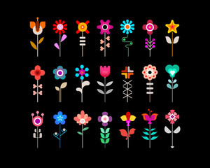 Fotobehang Abstractie Art Colorful flower vector icon set