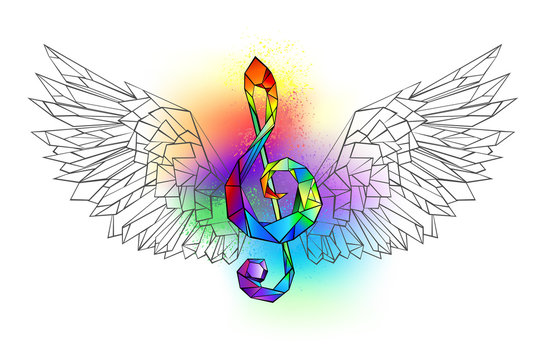 Rainbow musical key with wings